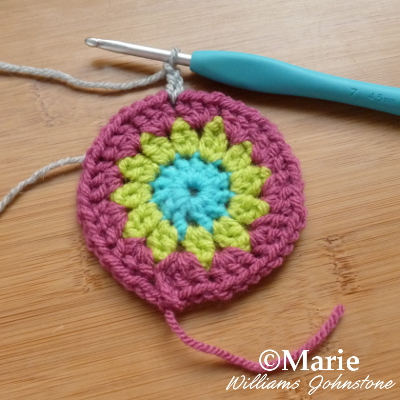 Crocheted round in three different colors