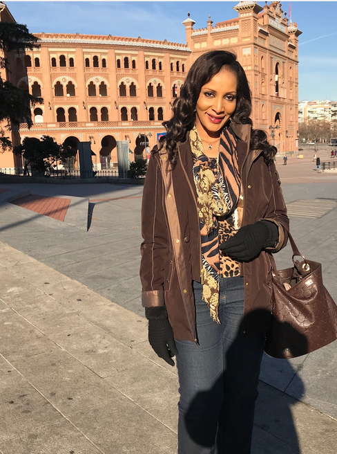 Bianca-Ojukwu-at-the-Bullfighting-Arena-in-Madrid-Spain