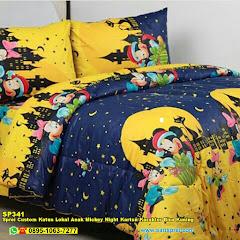 Sprei Custom Katun Lokal Anak Mickey Night Kartun Karakter Biru Kuning