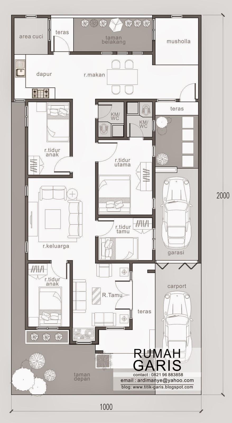 Desain Rumah Tinggal 1 lantai milik Ibu Saskiah di Kab
