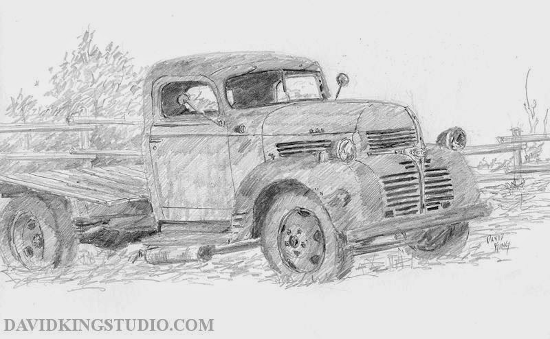 art sketch pencil graphie plein air Dodge truck vintage
