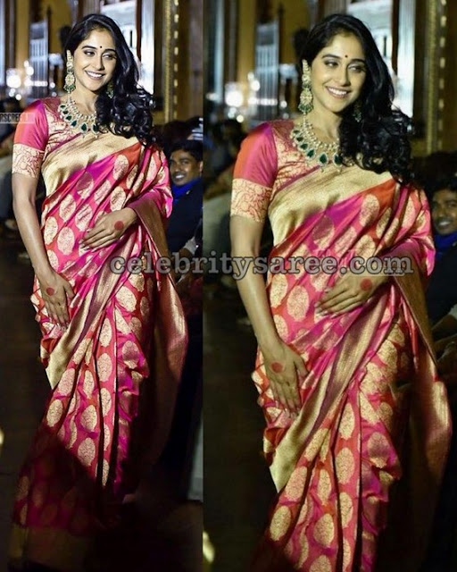 Regina in Pink Benaras Silk Saree