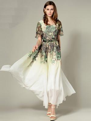 Baju Long Dress Motif Bunga Bahan Sifon Terbaru Tahun 2016