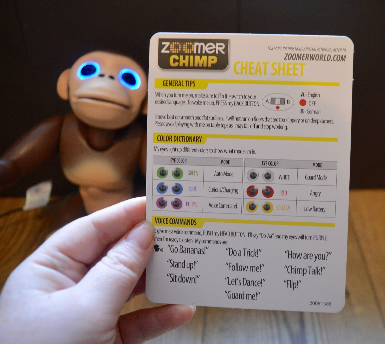 Zoomer Chimp Review | cheat sheet list of voice commands