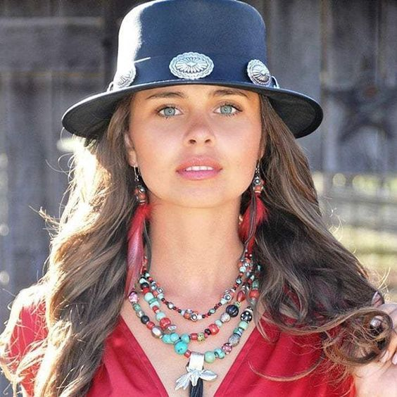 Lady in Red Color T-Shirt with Blue Color Round Hat