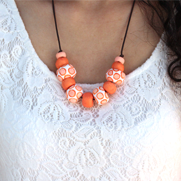 DIY air dry clay beads necklace