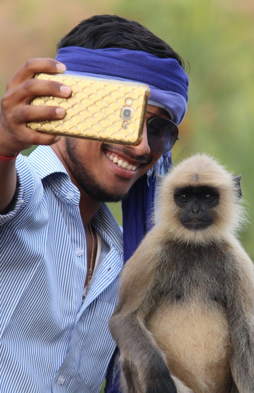 Taking a selfie with a monkey.