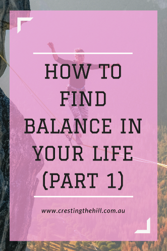 The first in a three part series on finding balance in your life based on a Charlotte Freeman quote