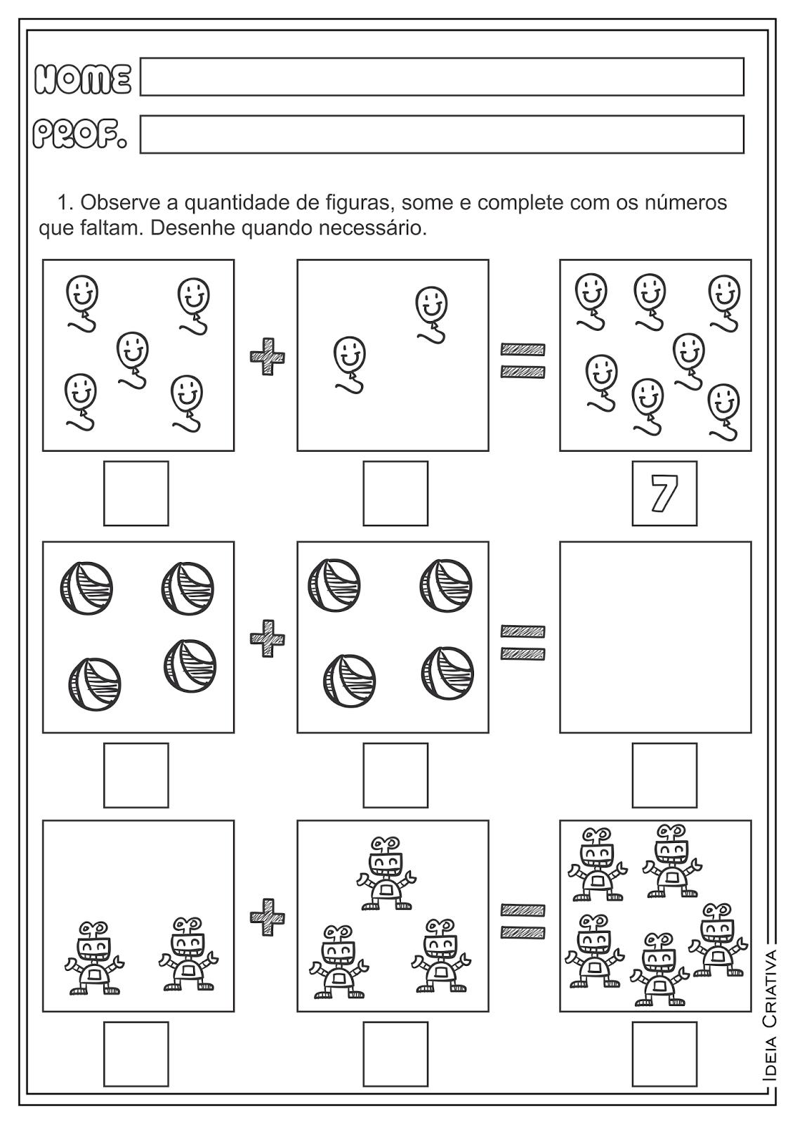 Atividades Adição e Subtração Matemática para Ensino Fundamental