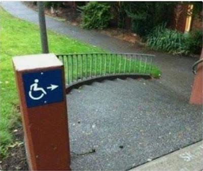 Escaleras, señal, silla de ruedas, minusválidos
