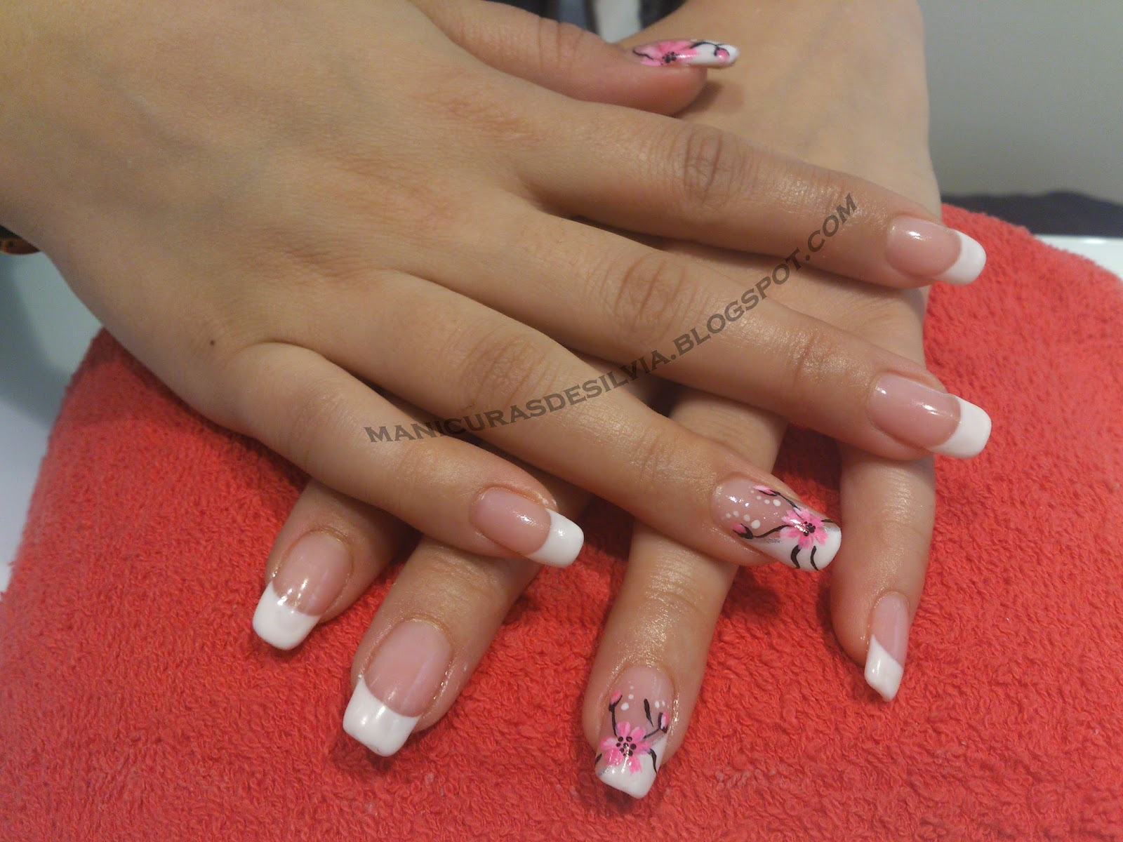 Manicuras De Silvia Francesa Con Flores French With Flowers