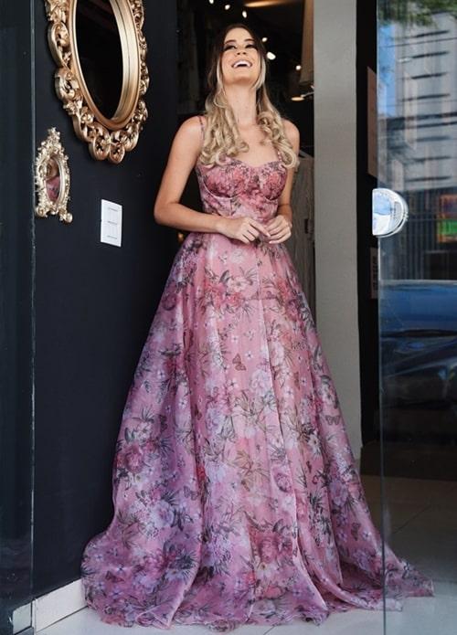 vestido de festa longo floral
