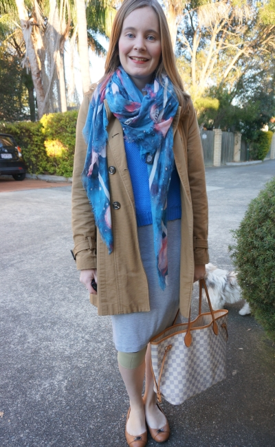 Stargazer print scarf blue jumper grey jersey pencil skirt office wear knee injury
