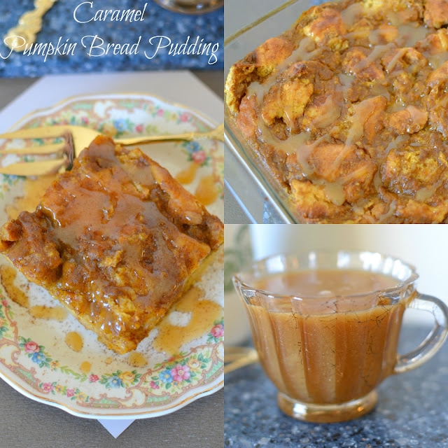 Caramel Pumpkin Bread Pudding Recipe from Hot Eats and Cool Reads! The ultimate fall dessert! This bread pudding is great for Thanksgiving, game day celebrations or any fall or holiday party! We also love it for breakfast or brunch!