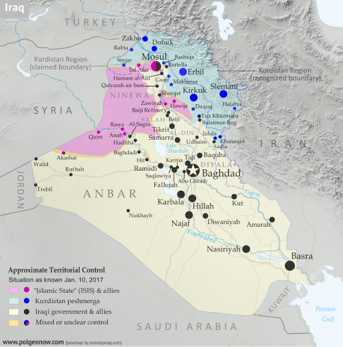 Detailed map of territorial control in Iraq as of January 10, 2016, including territory held by the so-called Islamic State (ISIS, ISIL), the Baghdad government, and the Kurdistan Peshmerga. Shows developments in the ongoing coalition battle to recapture the city of Mosul. Includes key locations from recent events, such as Mosul, Al-Sagra, and Hamam al-Alil. Colorblind accessible.