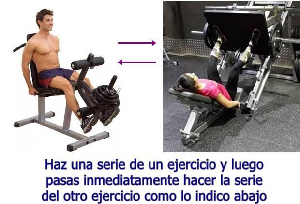 Biserie de los ejercicios prensa y extensión de rodilla