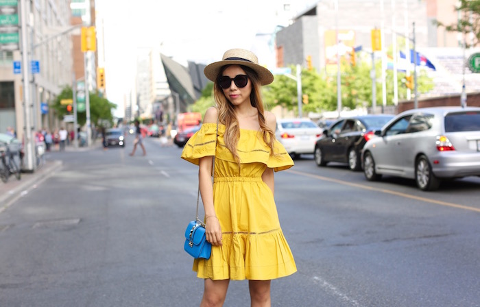 Chicwish off shoulder dress, valentino lock bag, sandals, straw hat, toronto street style, nyc fashion blog, summer style