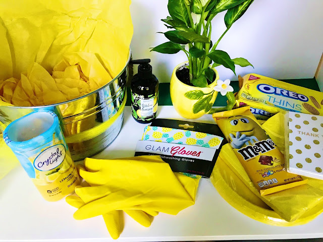 Yellow items to place in a gift basket @michellepaigeblogs.com