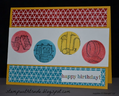 stamp with trude, http://stampwithtrude.blogspot.com, Trude Thoman, Tuesday Tutorial, Stampin' Up!, Boys Will Be Boys stamp set, child's birthday card, stencil technique, masking technique, emboss resist technique