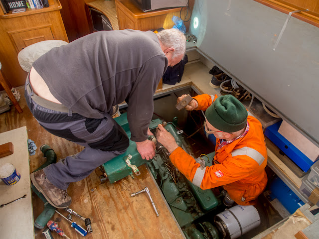 Photo of Phil helping Norman with the troublesome heat exchanger