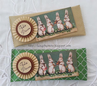 Lembrancinhas de Páscoa. Barra de chocolates.