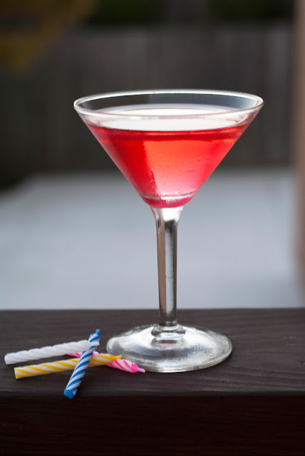 red velvet cake martini cocktail, cake vodka, creme de cacao, grenadine