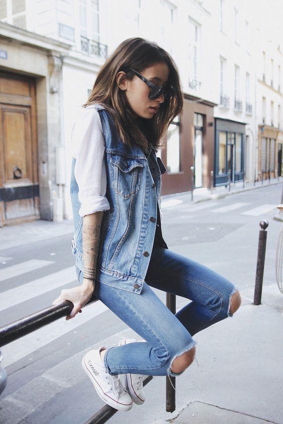 Alex's Closet - Ripped Jeans, Denim Vest, White Converse Sneakers