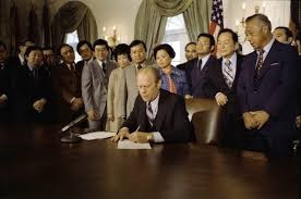1976: Republican President Gerald Ford, formally rescinds FDR's Interment Executive Order 9066 for 120,000 Japanese-Americans.