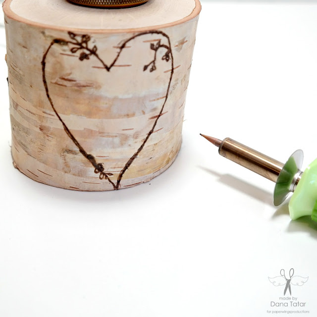 How to Wood Burn Over A Stamped Design onto a Birch Pillar by Dana Tatar