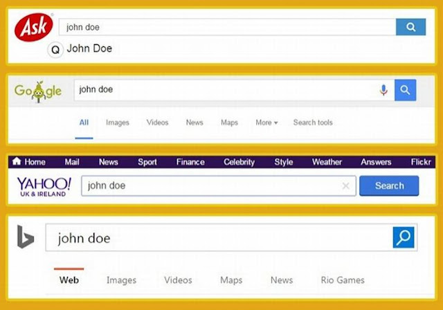 Ask, Yahoo, Bing search engine result
