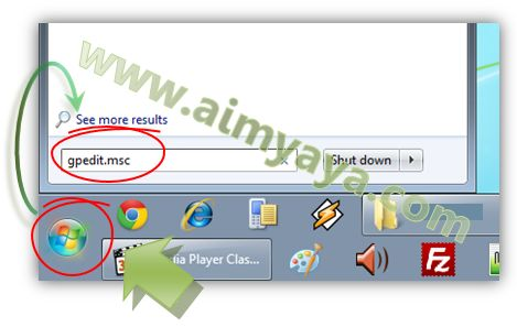 Gambar: Mengakses fasilitas Local group policy editor