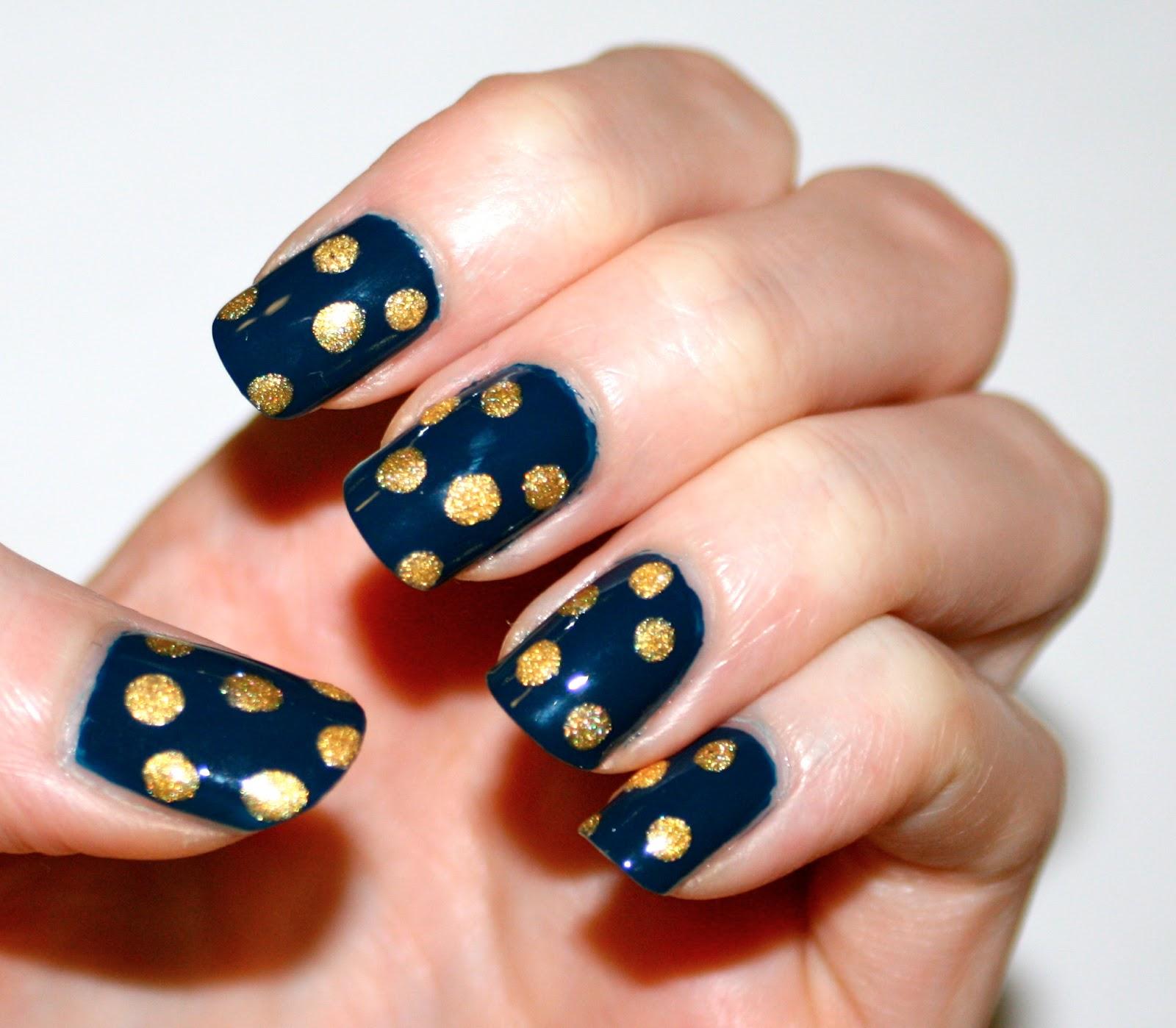 Polka Dot Nail Art: Evlady: Textured Gold Polka Dots Nail Art