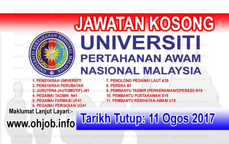 Jawatan Kerja Kosong Universiti Pertahanan Nasional Malaysia - UPNM logo www.ohjob.info ogos 2017