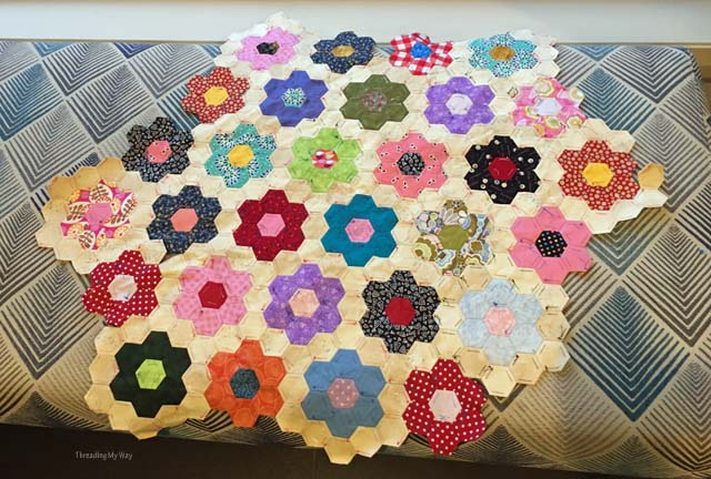 Grandmothers Flower Garden hexagon quilt progress ~ Threading My Way