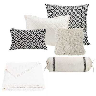 vintage white diamond pattern quilt, white mongolian fur pillow, Augsta Euro Sham and throw pillow