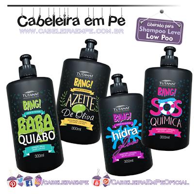 Cremes para pentear Bang! - Tutanat (Baba de Quiabo, Hidra Gloss, Azeite de Oliva e SOS Química) - Liberados para Low Poo