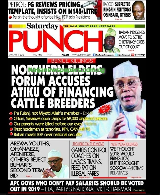 Nigeria Newspapers Today S The Punch Newspaper Headlines 6th January 2018