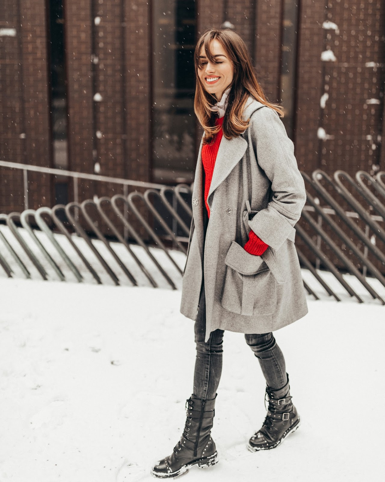 grey oversized cashmere coat outfit winter