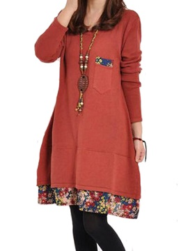 Floral Print Patchwork Long   Sleeve Women's Casual Dress