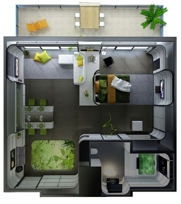 one bedroom apartment design with small lawn
