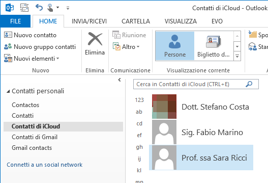 come sincronizzare i contatti di outlook con ipad