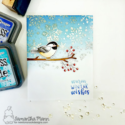 Warm Winter Wishes Card by Samantha Mann for Newton's Nook Designs, Embossing Paste, Glitter, Embossing Powder, Birds, Distress Inks, Chickadee, Cards #newtonsnook #distressink #embossingpowder #heatembossing #witnerbirds #winter #cards