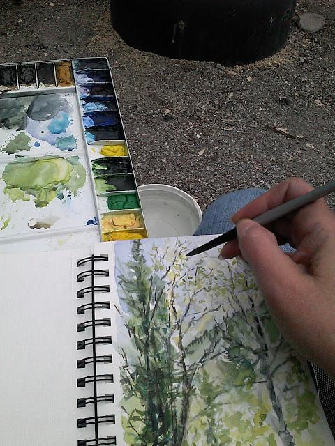 watercolor sketch book, folding metal watercolor palette, travel art kit, Christy Sheeler artist