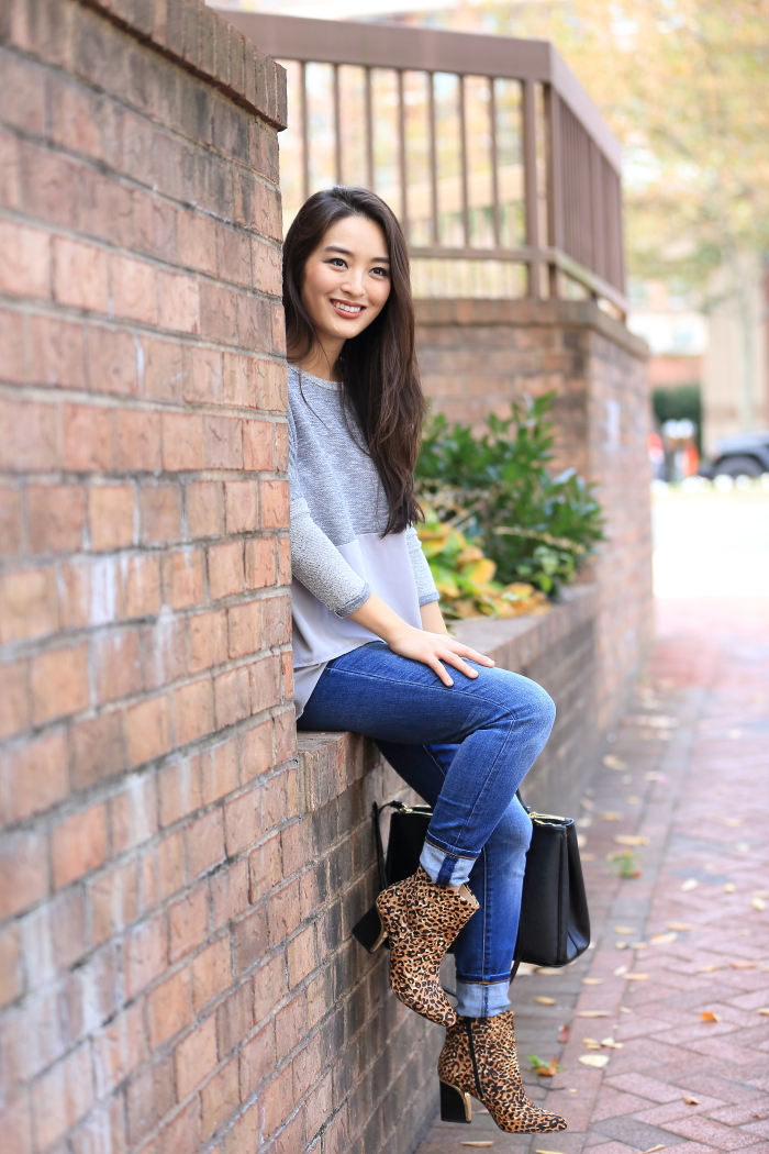 casual look with jeans and animal print booties