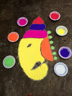rangoli ganesh face for kids