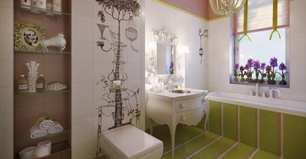 Kamar mandi nyaman berbunga