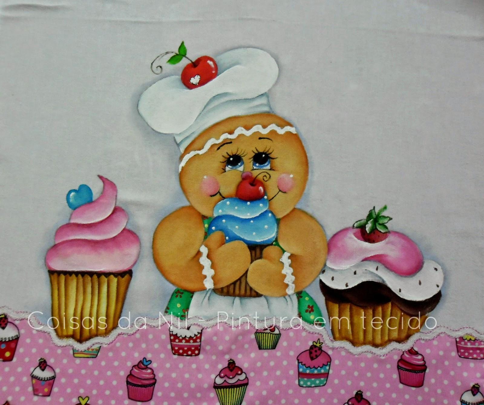 pano de copa com pintura de boneca ginger e barradinho de tecido estampado com cupcakes