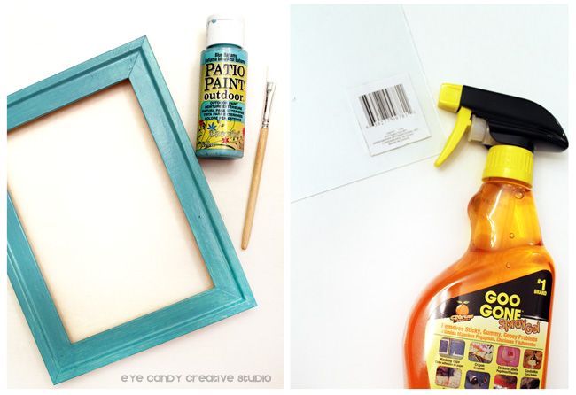photo frame, how to make framed art, DecoArt paint, Goo Gone spray