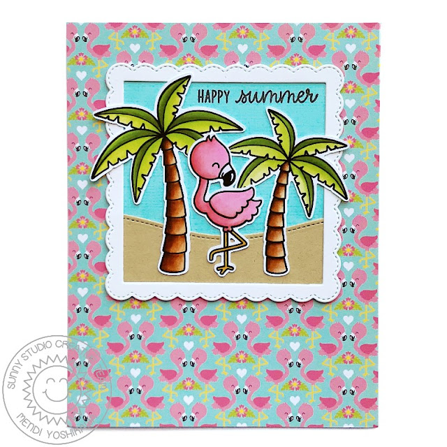 Sunny Studio Stamps Fabulous Flamingos Palm Tree Card by Mendi Yoshikawa (using Summer Splash 6x6 Paper)