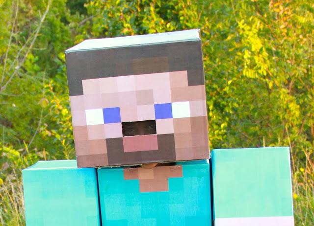 DIY Minecraft Steve Costume with cardboard legs!  Midwestern Mama